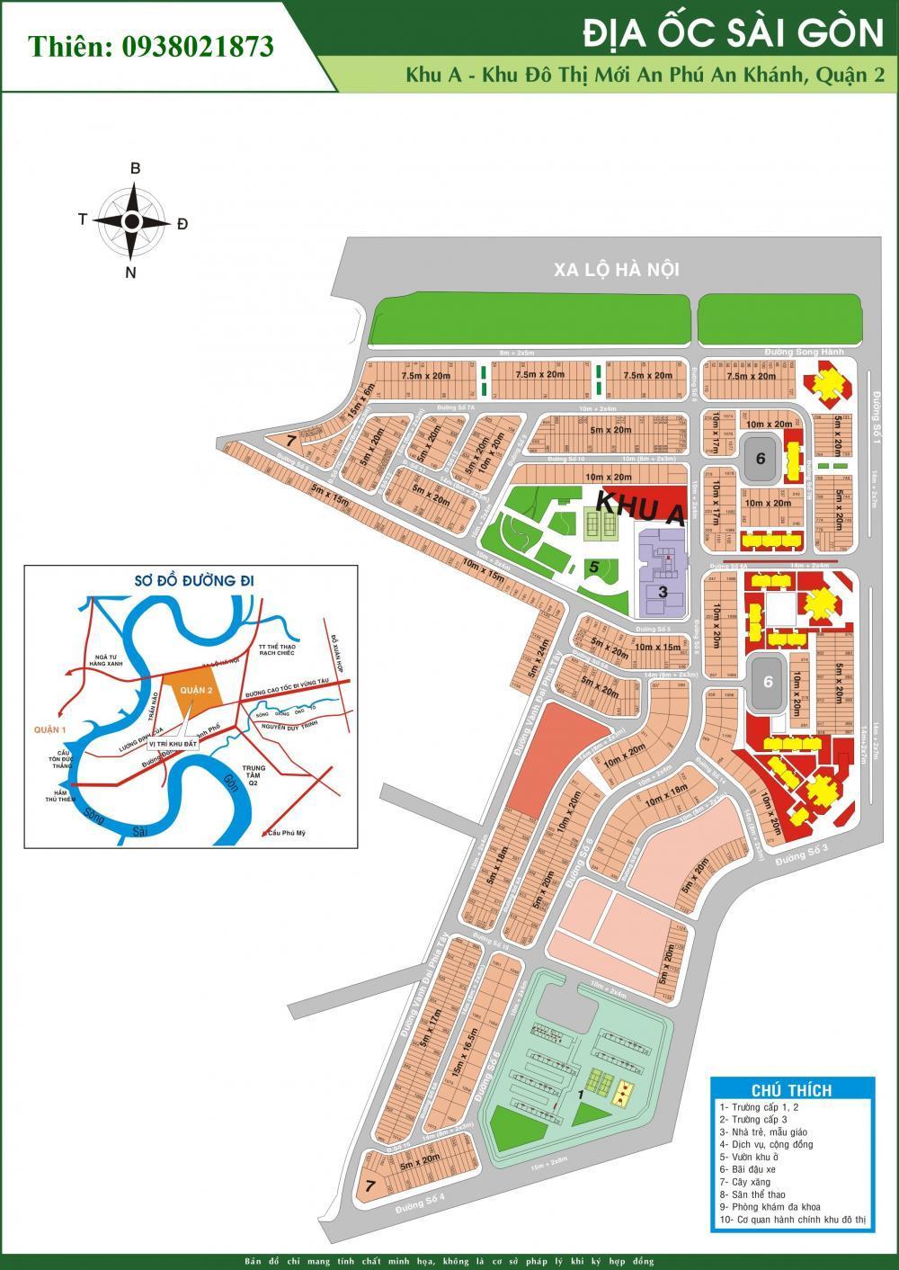 0909817489 - Cho thuê đất 300m2, hướng Tây Bắc, khu A dự án An Phú An Khánh Q2